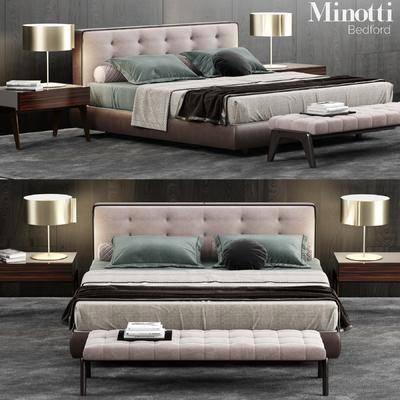 2000套国外模型, 现代, 双人床, 台灯, 边柜