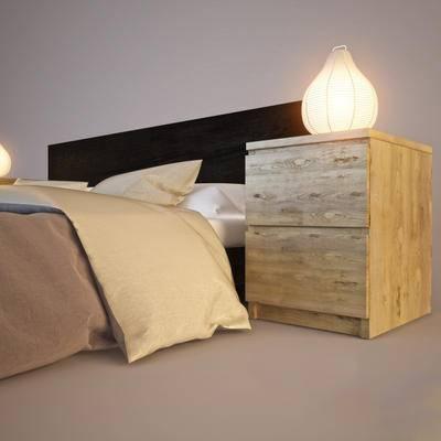 下得乐品牌模型库, 现代, 双人床, 边柜组合
