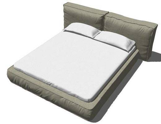现代双人床, 现代, 现代床, 床头柜