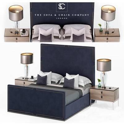 下得乐品牌模型库, 现代, 双人床, 边柜, 台灯