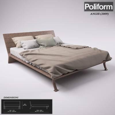 2000套高精3D单体模型, 现代, 双人床, 床具