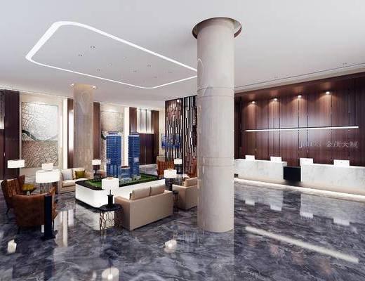 下得乐2019季千套模型, 现代, 售楼大厅, 多人沙发, 单人沙发