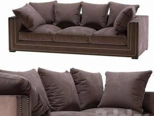 现代多人棕色沙发