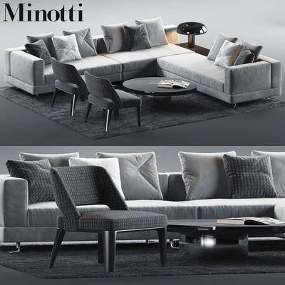 2000套高精3D单体模型, 现代, 多人沙发, 茶几, 沙发, 单椅