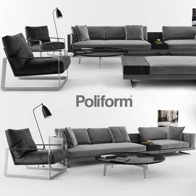 2000套国外模型, 现代, 多人沙发, 沙发, 茶几