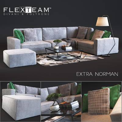 2000套国外模型, 现代, 多人沙发, 茶几, 拐角沙发