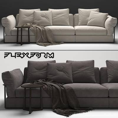 下得乐品牌模型库, 现代, 多人沙发, 沙发, 边几