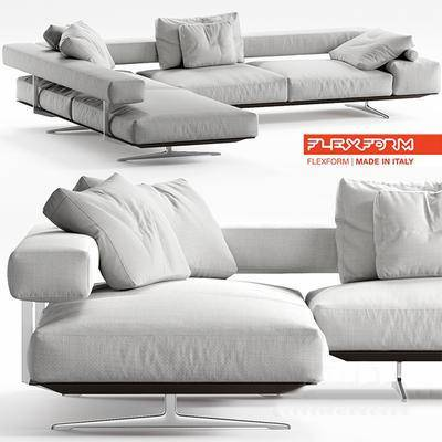 2000套高精3D单体模型, 现代, 多人沙发, 拐角沙发, 沙发, 转角沙发