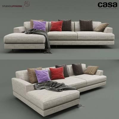 2000套高精3D单体模型, 下得乐品牌模型库, 现代, 多人沙发, 拐角沙发, 转角沙发, 沙发