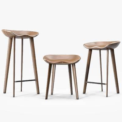 下得乐品牌模型库, 现代, 实木吧椅, 吧椅