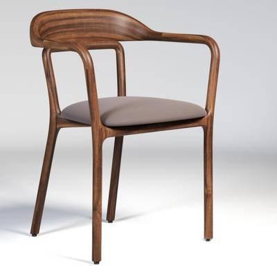下得乐品牌模型库, 现代, 实木椅子, 单椅