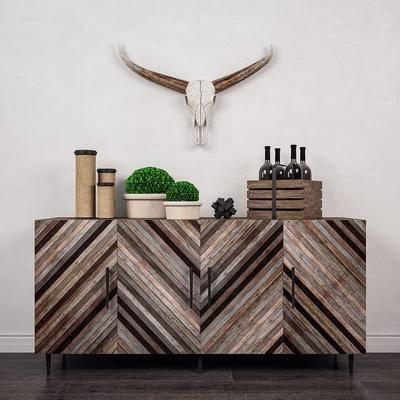 下得乐品牌模型库, 现代, 实木边柜, 边柜