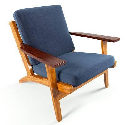 下得乐品牌模型库, 现代, 实木沙发椅, 沙发椅