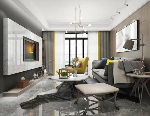 下得乐2019季千套模型, 现代, 客厅, 多人沙发, 吊灯, 茶几