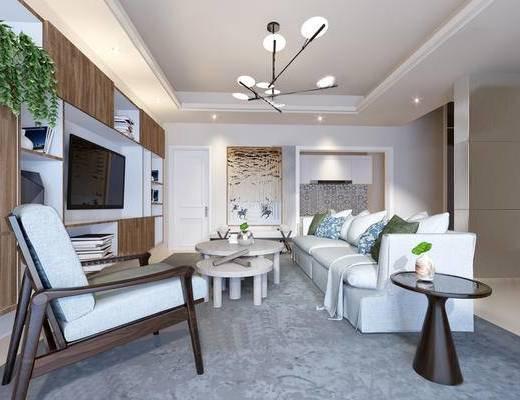 下得乐2019季千套模型, 现代, 客厅, 多人沙发, 吊灯, 茶几, 单人沙发, 电视柜