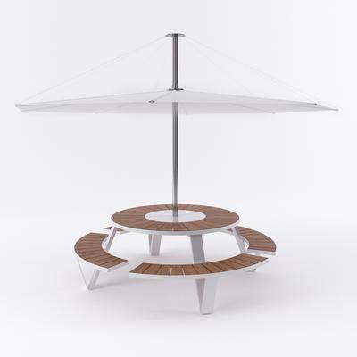 下得乐品牌模型库, 现代, 太阳伞, 室外桌凳