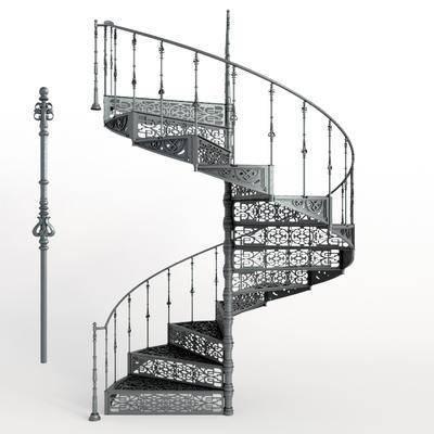 2000套高精3D单体模型, 工业风, 楼梯