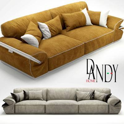 下得乐品牌模型库, 现代, 布艺沙发, 多人沙发