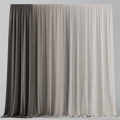 2000套国外模型, 现代, 布艺窗帘, 窗帘