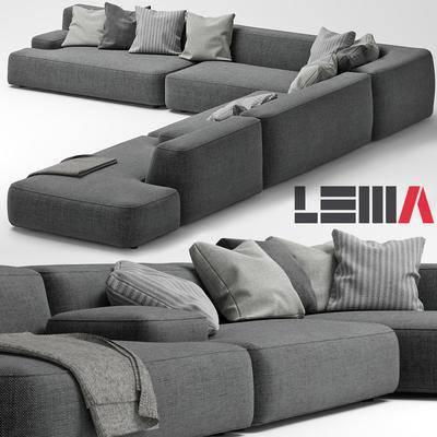 下得乐品牌模型库, 现代, 布艺沙发, 沙发, 多人沙发, 拐角沙发, 转角沙发