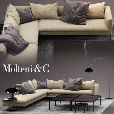下得乐品牌模型库, 现代, 布艺, 转角沙发, 多人沙发