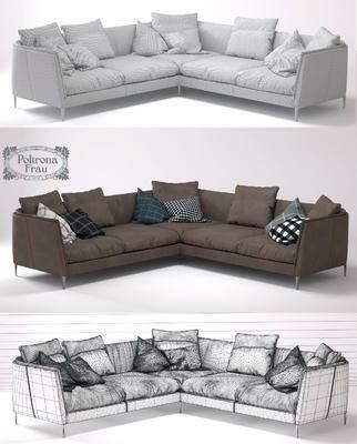 下得乐品牌模型库, 现代, 布艺沙发, 拐角沙发, 转角沙发, 沙发