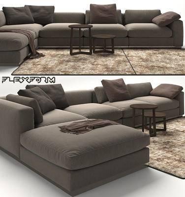 下得乐品牌模型库, 现代, 布艺沙发, 转角沙发, 沙发, 多人沙发