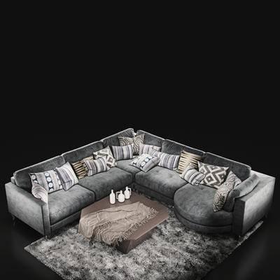 下得乐品牌模型库, 现代, 布艺, 多人沙发, 拐角沙发