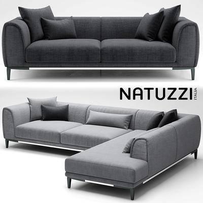 下得乐品牌模型库, 现代, 布艺沙发, 拐角沙发, 沙发
