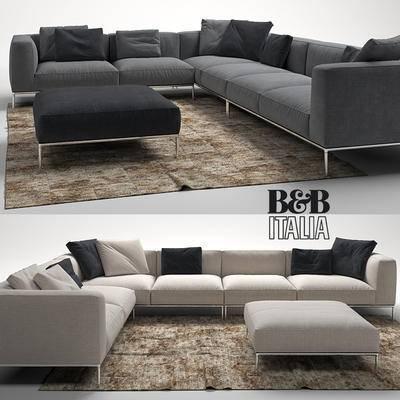 下得乐品牌模型库, 现代, 布艺沙发, 拐角沙发, 多人沙发