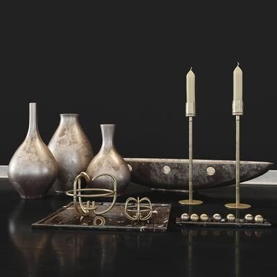 2000套高精3D单体模型, 现代, 摆件, 烛台, 花瓶, 陈设品