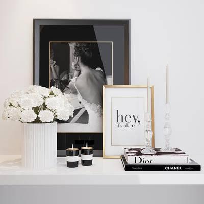 现代, 摆件, 装饰画, 花瓶花卉, 蜡烛