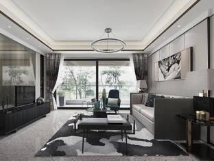 现代新中式客厅3D模型_3d模型