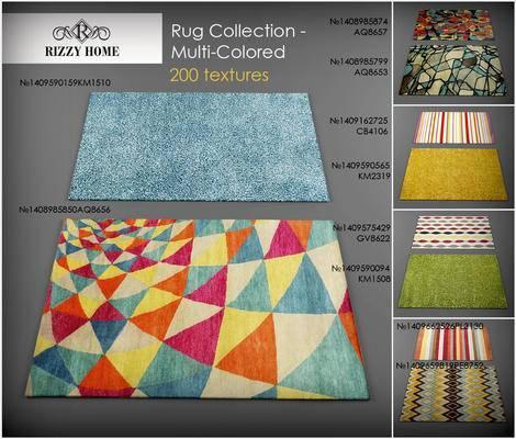 2000套高精3D单体模型, 现代, 地毯, 方形地毯