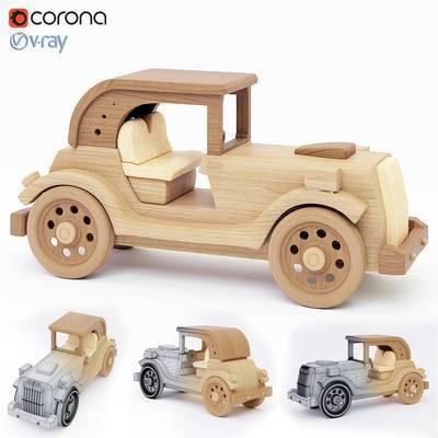 下得乐品牌模型库, 现代, 木质玩具, 木古董车
