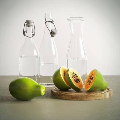 2000套国外模型, 现代, 木瓜, 玻璃瓶