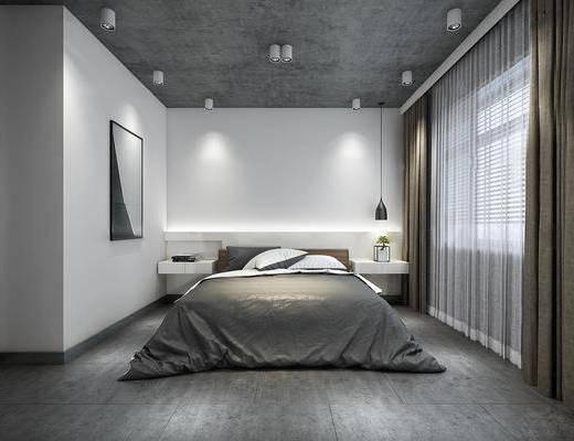 下得乐2019季千套模型, 现代, 简约, 卧室, 双人床, 挂画, 床头柜, 台灯