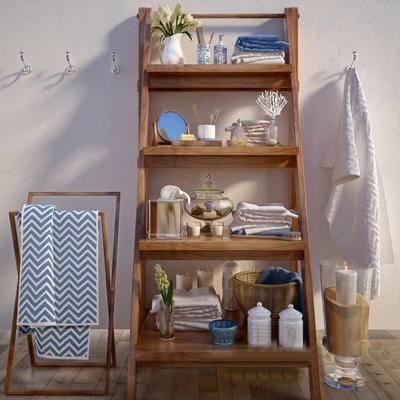 2000套高精3D单体模型, 现代, 毛巾, 毛巾架, 摆件, 日用品