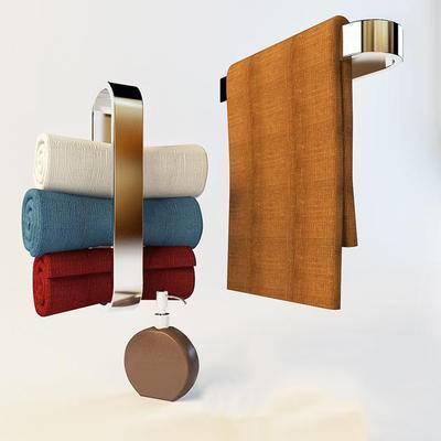 2000套高精3D单体模型, 现代, 毛巾架, 毛巾