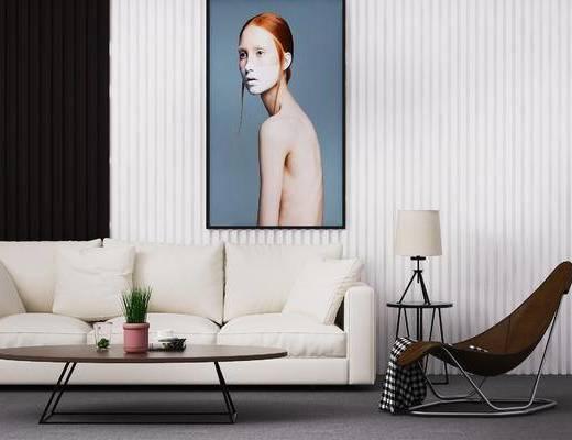 下得乐2019季千套模型, 现代, 沙发组合, 摆件组合