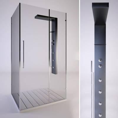 2000套高精3D单体模型, 现代, 淋浴间, 沐浴间