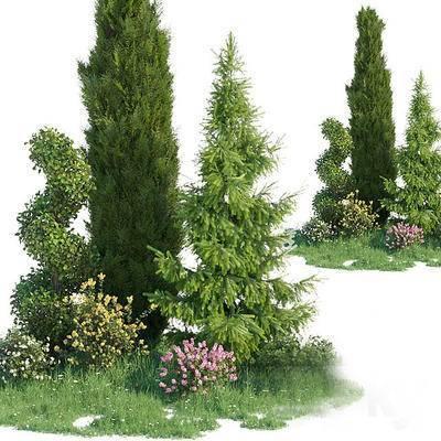 2000套高精3D单体模型, 现代, 灌木, 植物, 灌木丛, 绿植