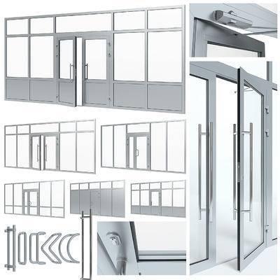 下得乐品牌模型库, 现代, 玻璃门, 推拉门, 门