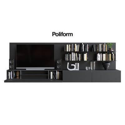 2000套国外模型, 现代, 装饰柜, 电视柜, 书籍, 摆件, 装饰架