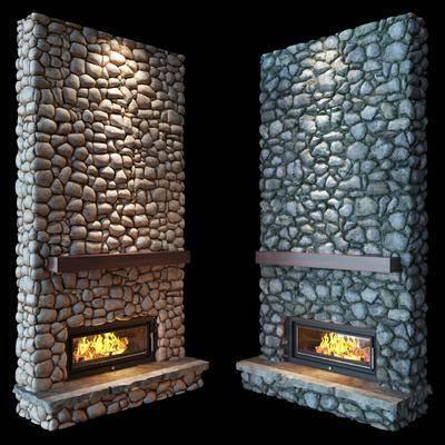下得乐品牌模型库, 现代, 石墙壁炉, 壁炉
