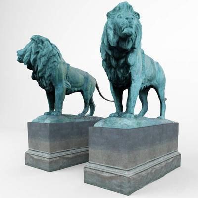 2000套高精3D单体模型, 现代, 狮子雕塑, 雕塑, 摆件