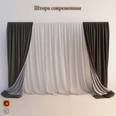 2000套高精3D单体模型, 现代, 窗帘, 简约