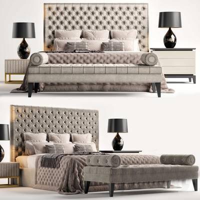 2000套国外模型, 简欧, 双人床, 床具, 边柜, 台灯