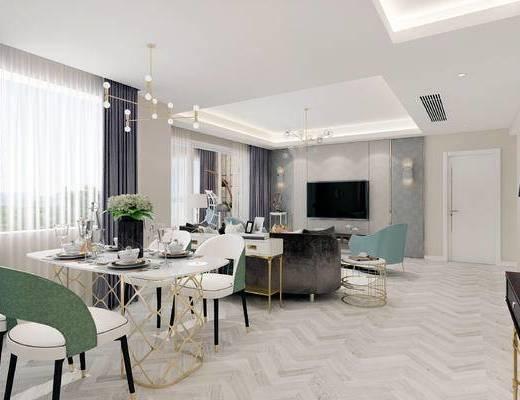 下得乐2019季千套模型, 简欧, 客厅, 餐桌, 多人沙发, 电视柜, 单椅, 茶几