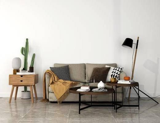 下得乐2019季千套模型, 现代, 简约, 双人沙发, 沙发, 茶几, 边柜, 落地灯